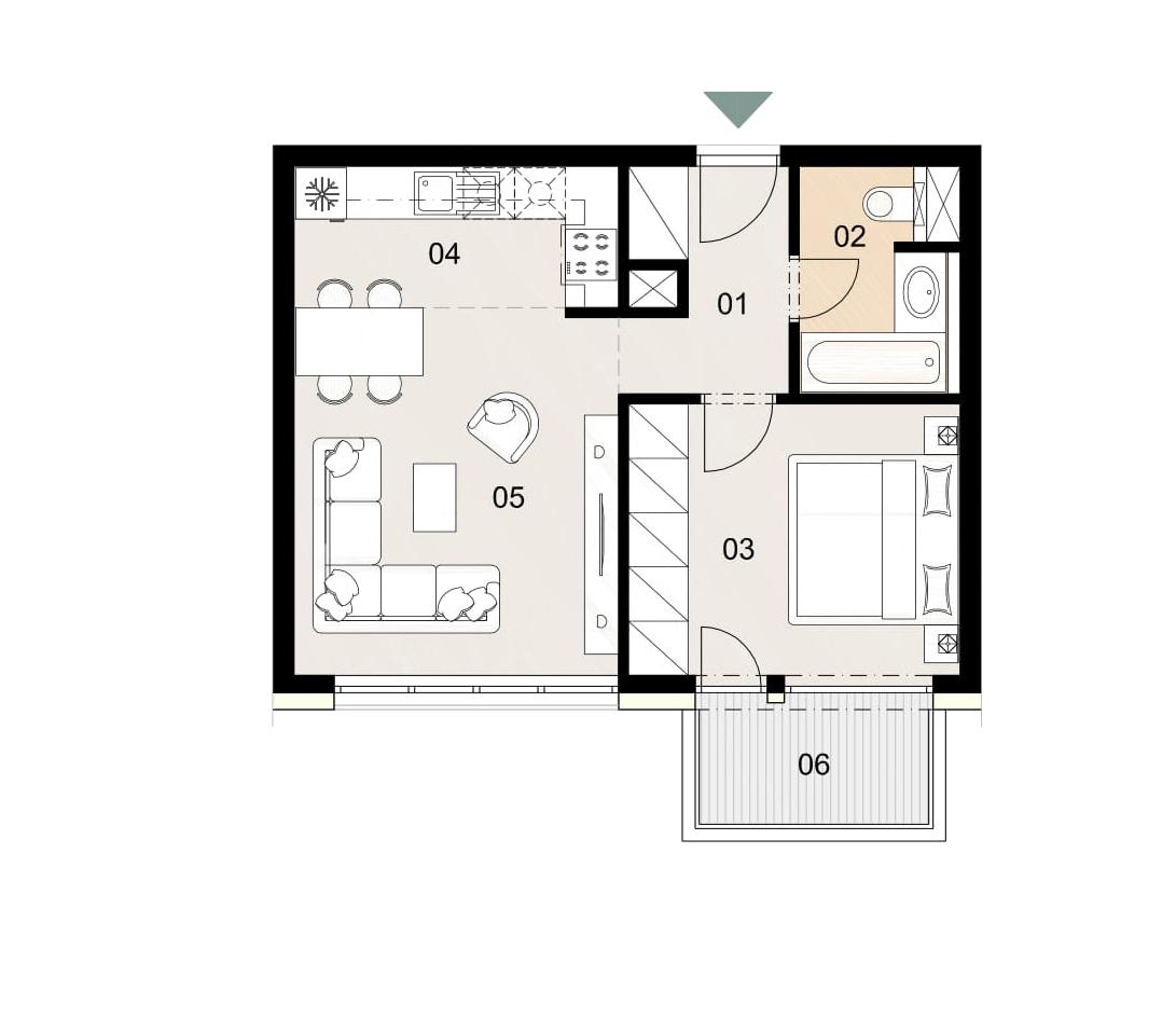Rosenhaus byt 603, 2-izbový. Novostavba Vrakuňa.