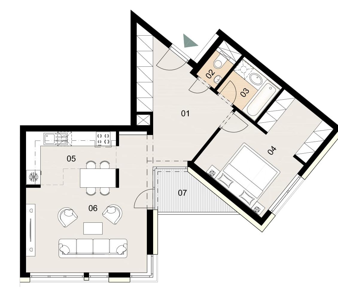 Rosenhaus byt 604, 2-izbový. Novostavba Vrakuňa.