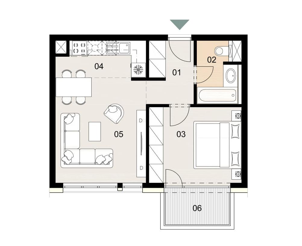 Rosenhaus byt 605, 2-izbový. Novostavba Vrakuňa.