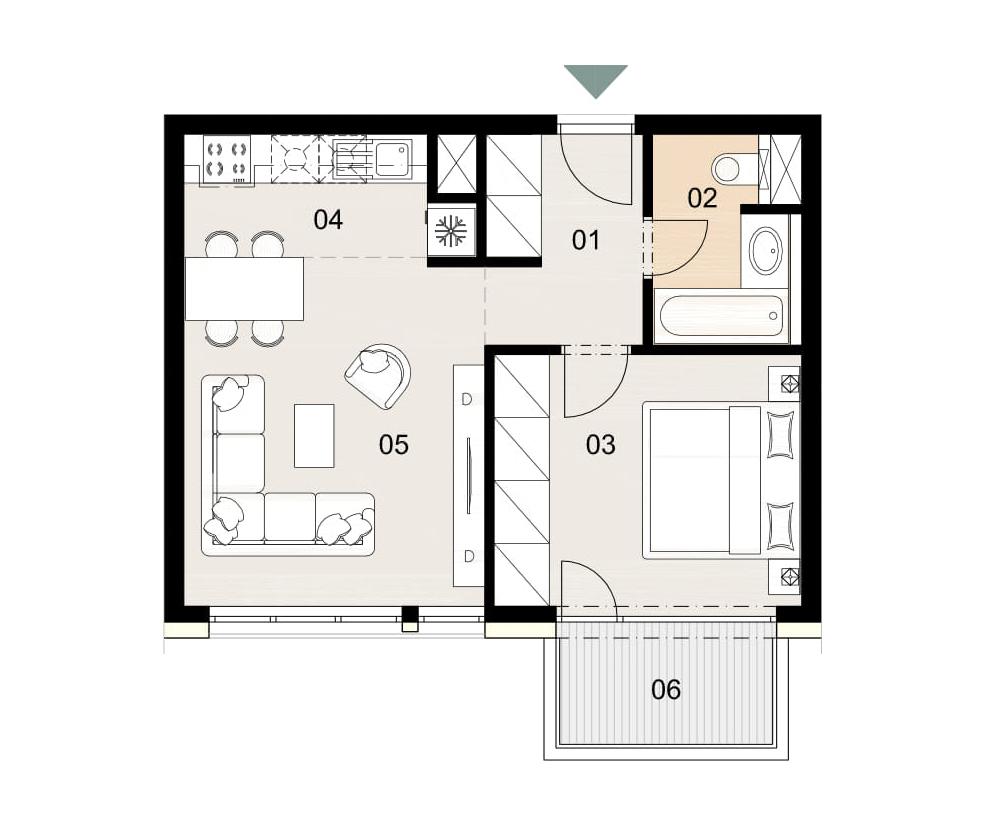 Rosenhaus byt 606, 2-izbový. Novostavba Vrakuňa.