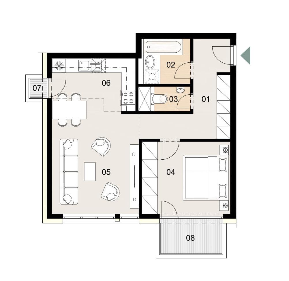 Rosenhaus byt 607, 2-izbový. Novostavba Vrakuňa.