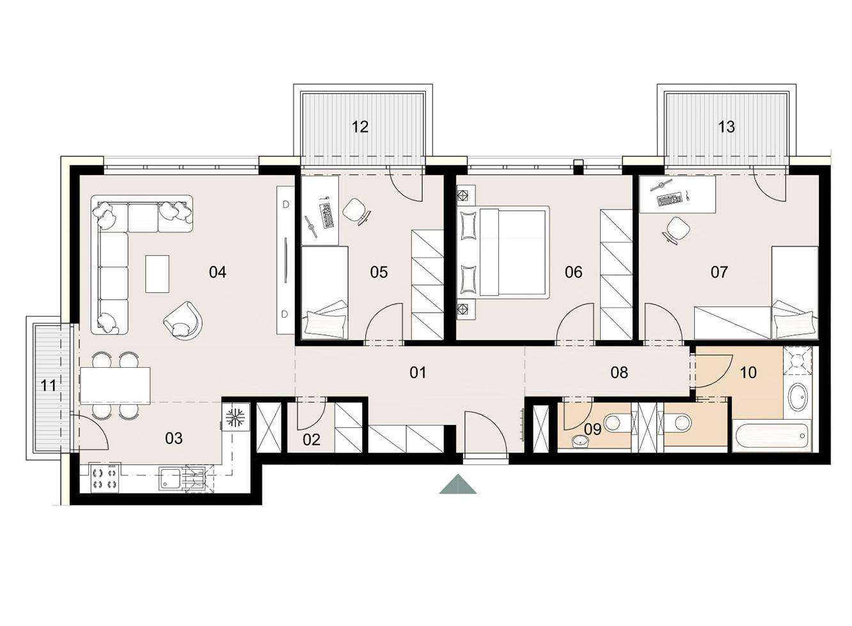 Rosenhaus byt 608, 4-izbový. Novostavba Vrakuňa.