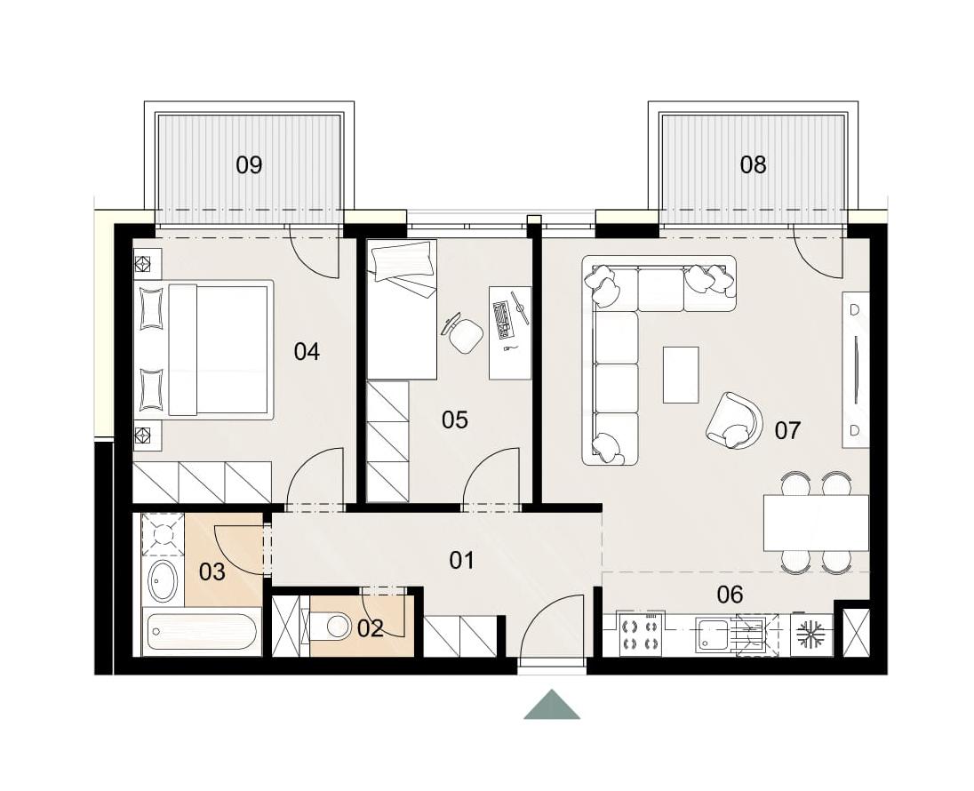 Rosenhaus byt 610, 3-izbový. Novostavba Vrakuňa.