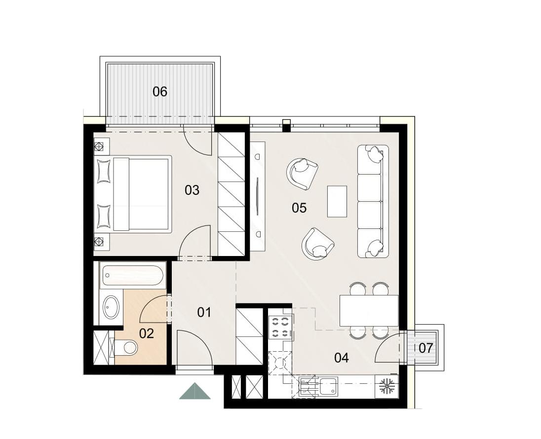 Rosenhaus byt 612, 2-izbový. Novostavba Vrakuňa.