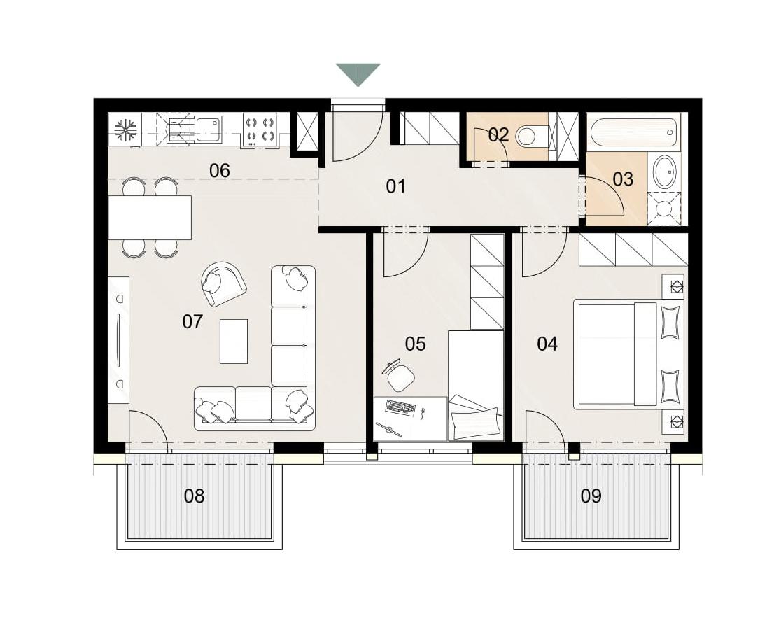 Rosenhaus byt 702, 3-izbový. Novostavba Vrakuňa.