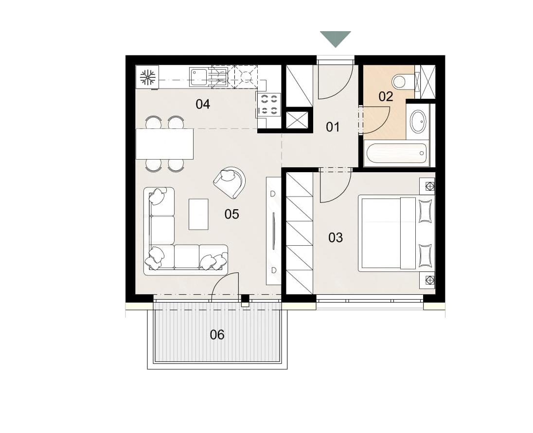 Rosenhaus byt 703, 2-izbový. Novostavba Vrakuňa.