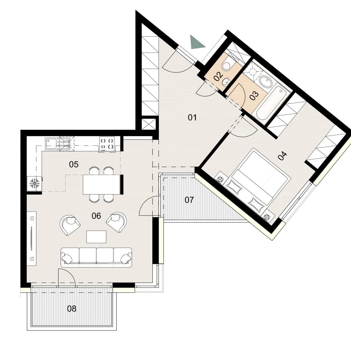 Rosenhaus byt 704, 2-izbový. Novostavba Vrakuňa.