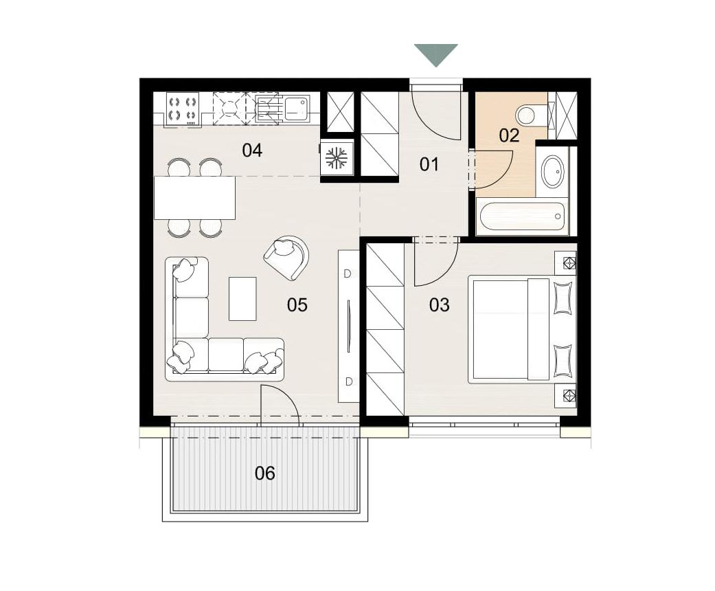 Rosenhaus byt 706, 2-izbový. Novostavba Vrakuňa.