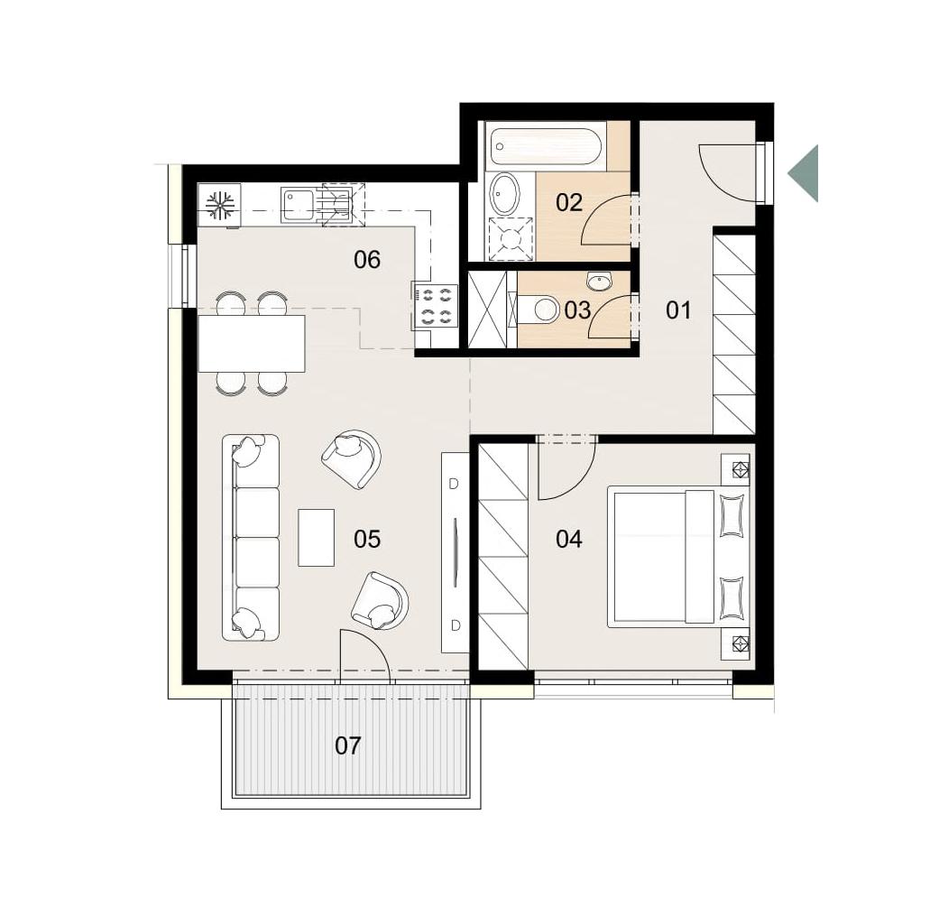 Rosenhaus byt 707, 2-izbový. Novostavba Vrakuňa.