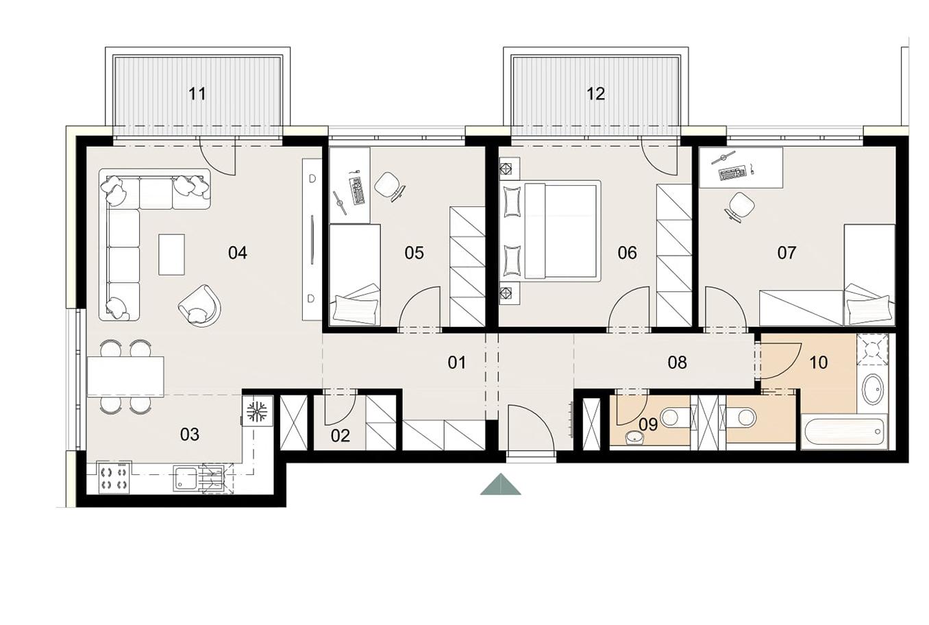 Rosenhaus byt 708, 4-izbový. Novostavba Vrakuňa.