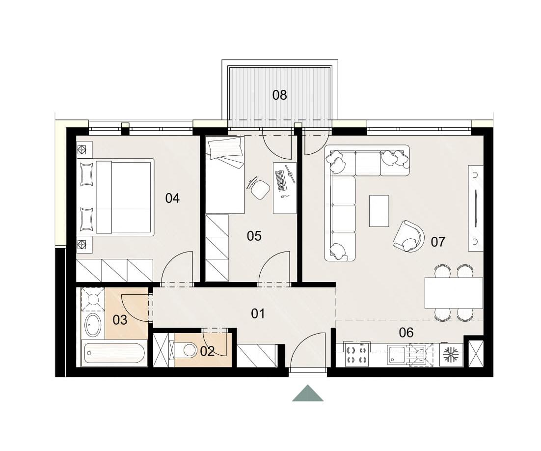 Rosenhaus byt 710, 3-izbový. Novostavba Vrakuňa.