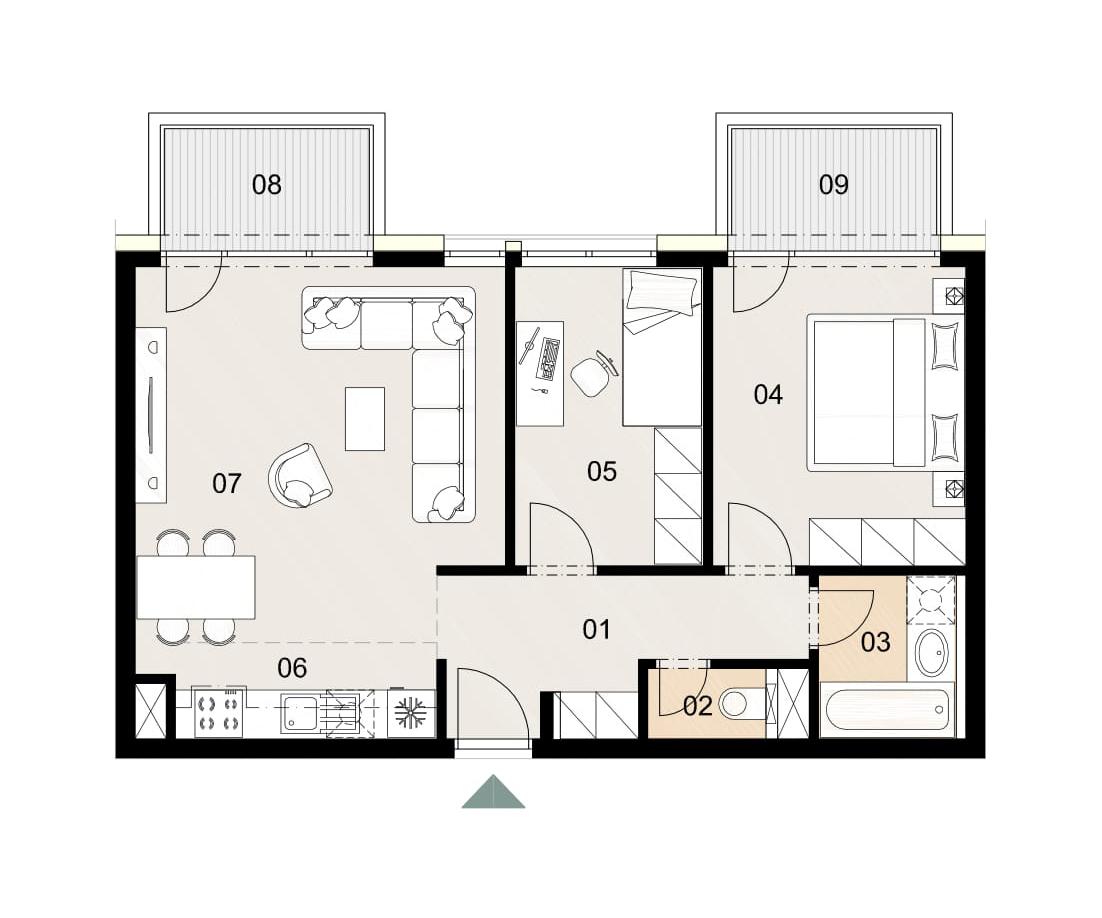 Rosenhaus byt 711, 3-izbový. Novostavba Vrakuňa.