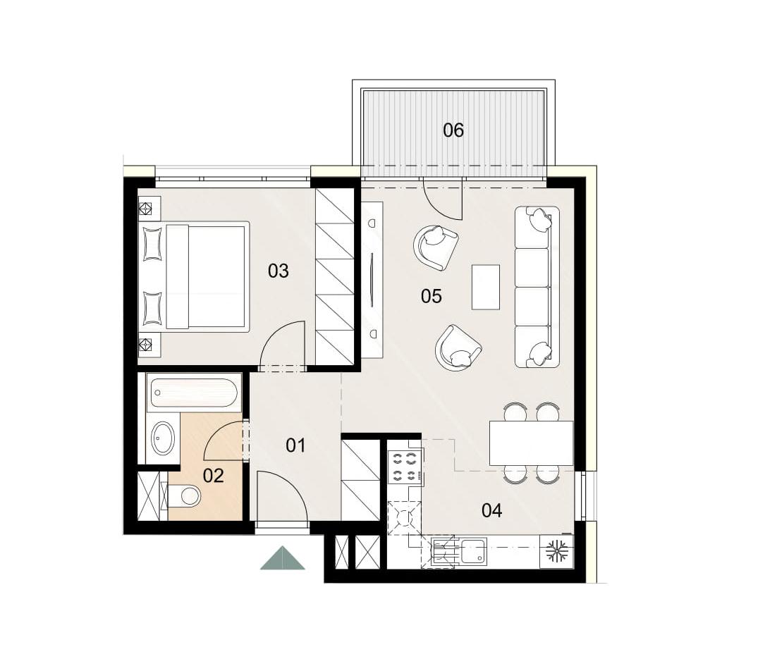 Rosenhaus byt 712, 2-izbový. Novostavba Vrakuňa.