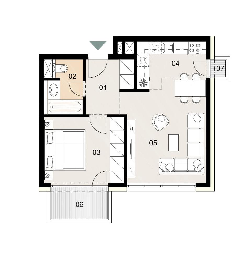 Rosenhaus byt 801, 2-izbový. Novostavba Vrakuňa.