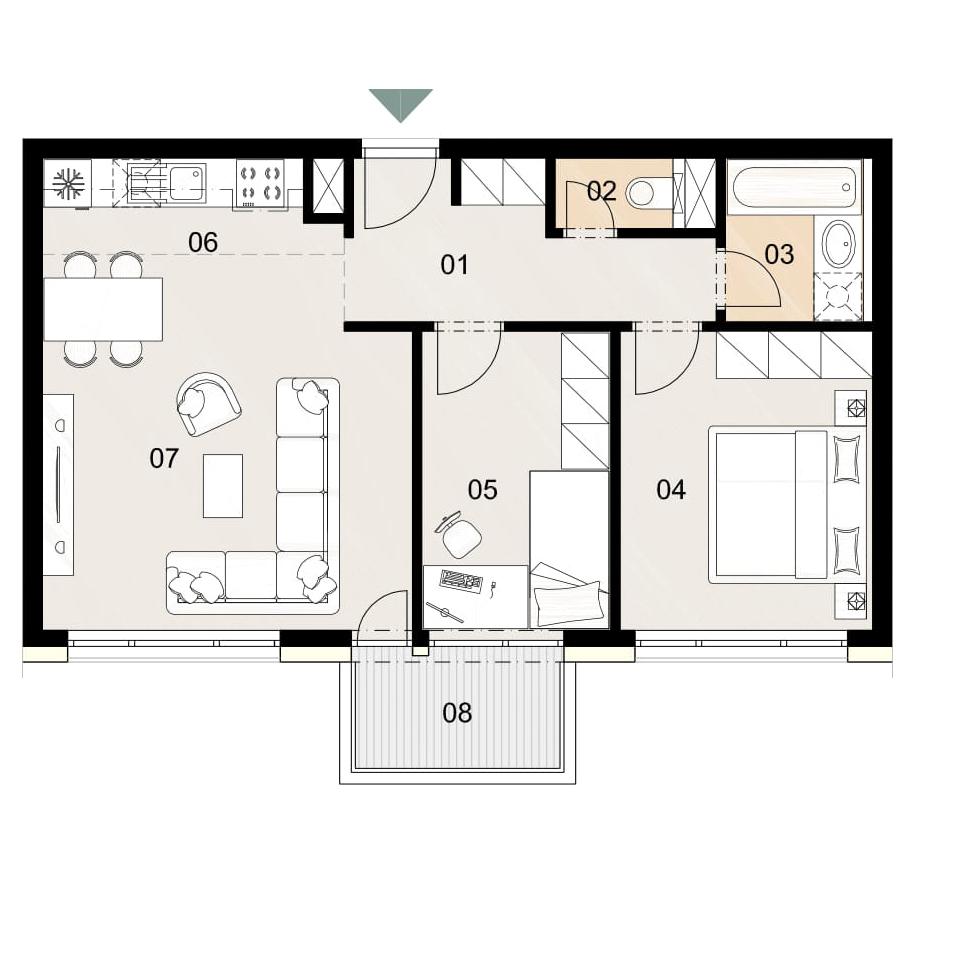 Rosenhaus byt 802, 3-izbový. Novostavba Vrakuňa.