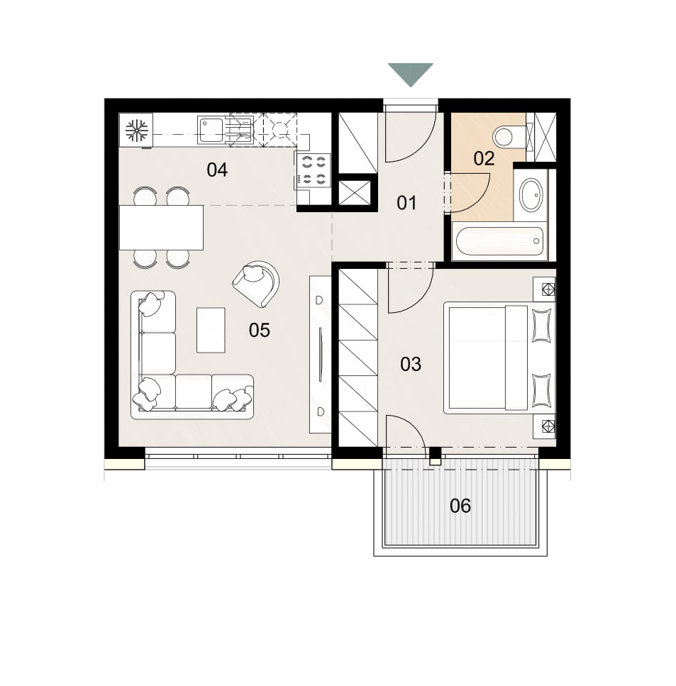 Rosenhaus byt 803, 2-izbový. Novostavba Vrakuňa.