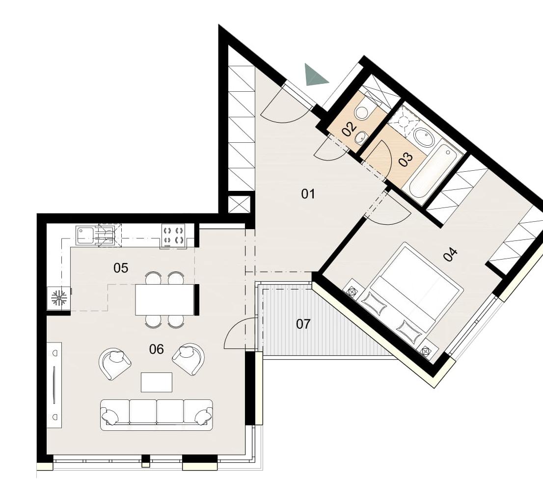 Rosenhaus byt 804, 2-izbový. Novostavba Vrakuňa.