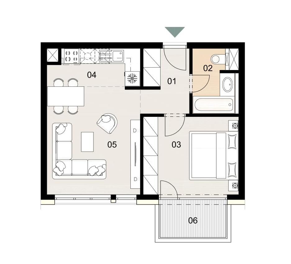 Rosenhaus byt 805, 2-izbový. Novostavba Vrakuňa.