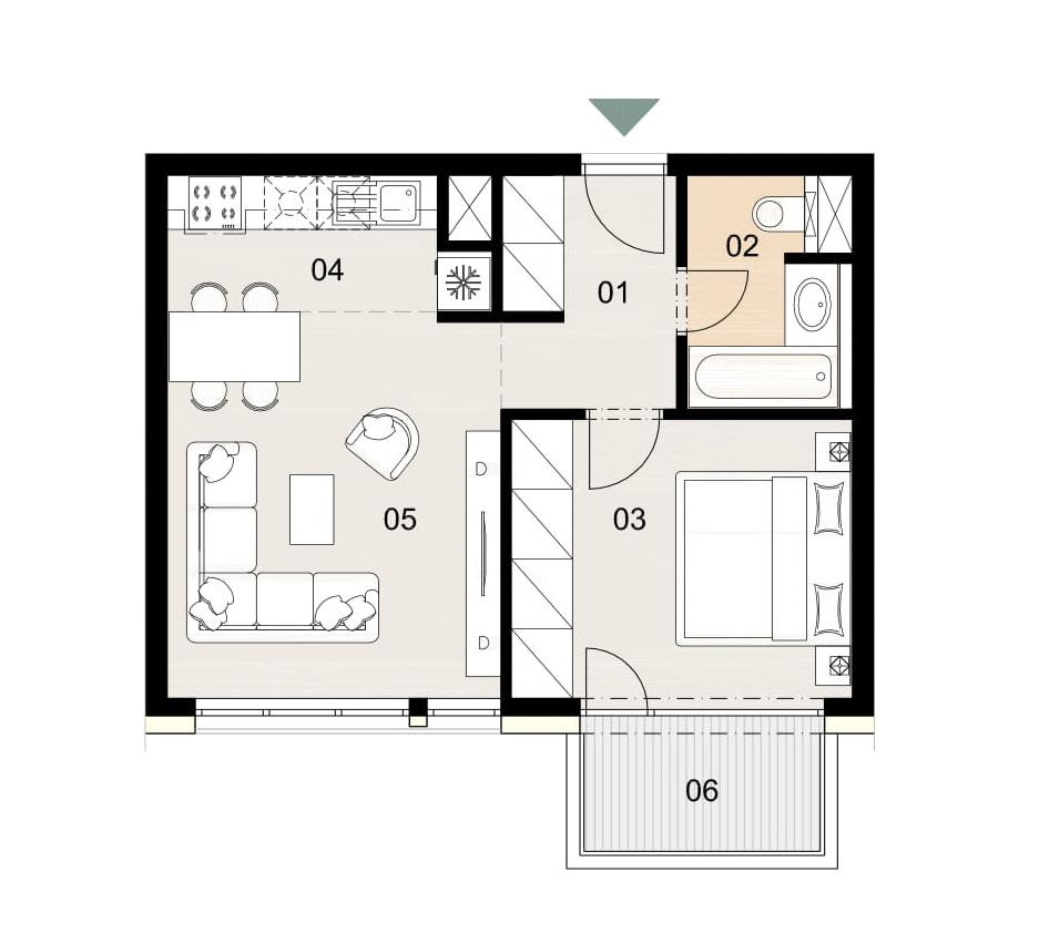 Rosenhaus byt 806, 2-izbový. Novostavba Vrakuňa.