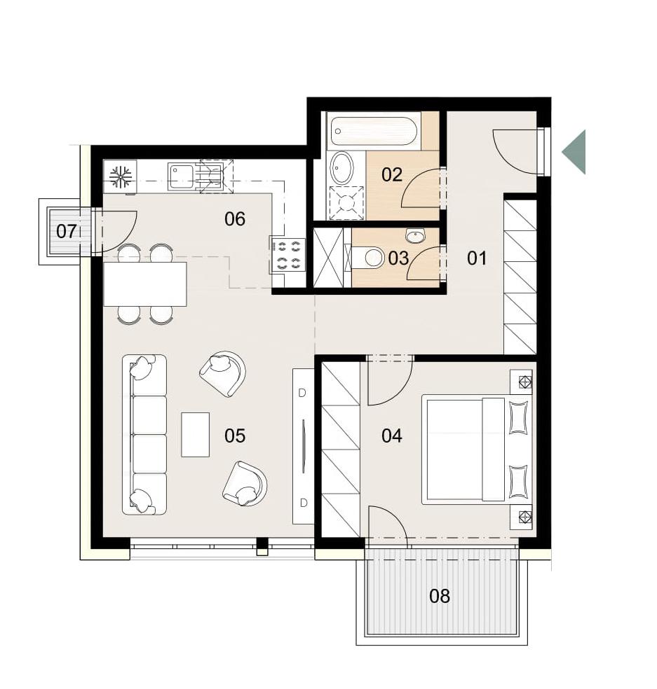 Rosenhaus byt 807, 2-izbový. Novostavba Vrakuňa.