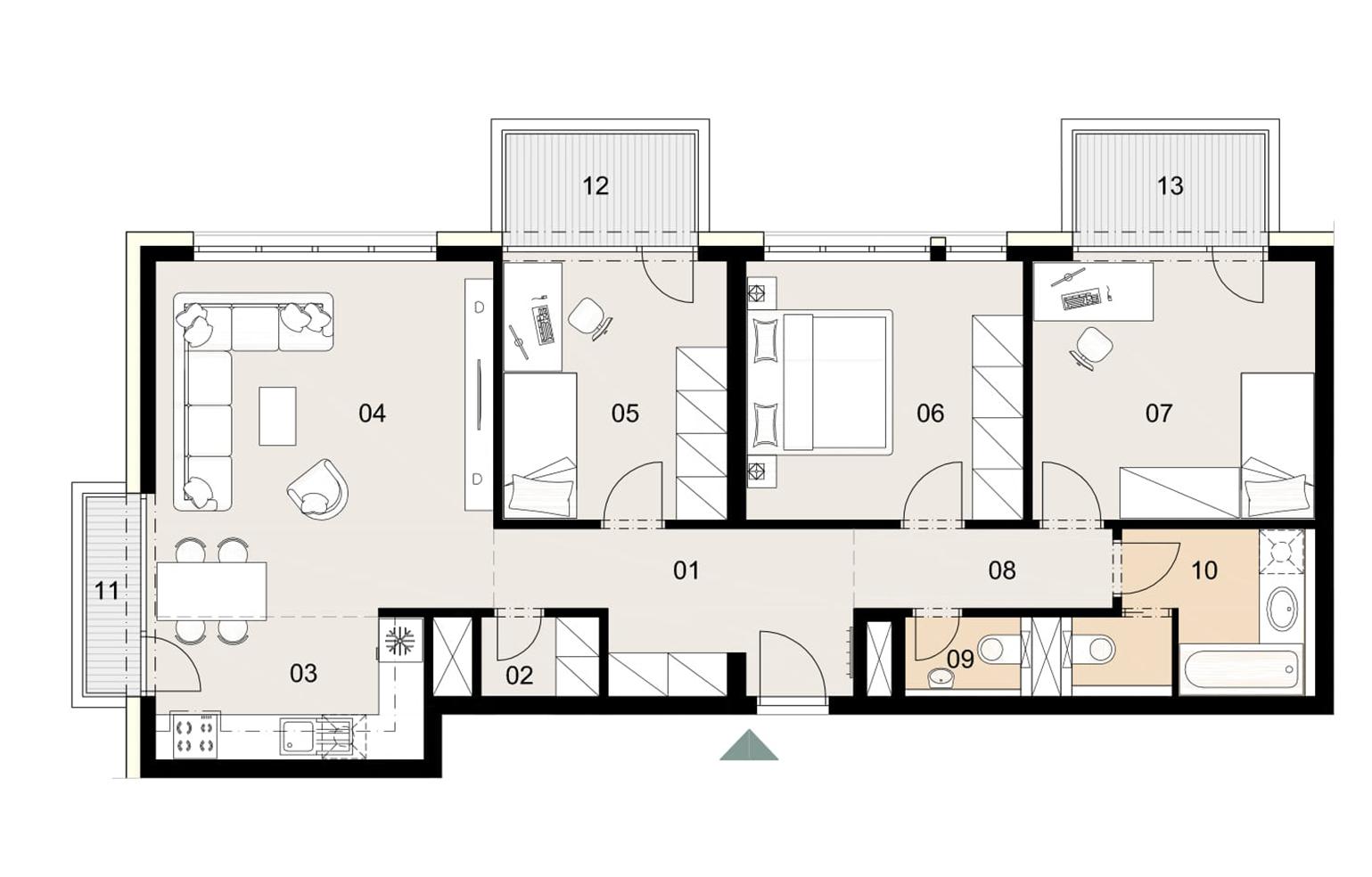 Rosenhaus byt 808, 4-izbový. Novostavba Vrakuňa.
