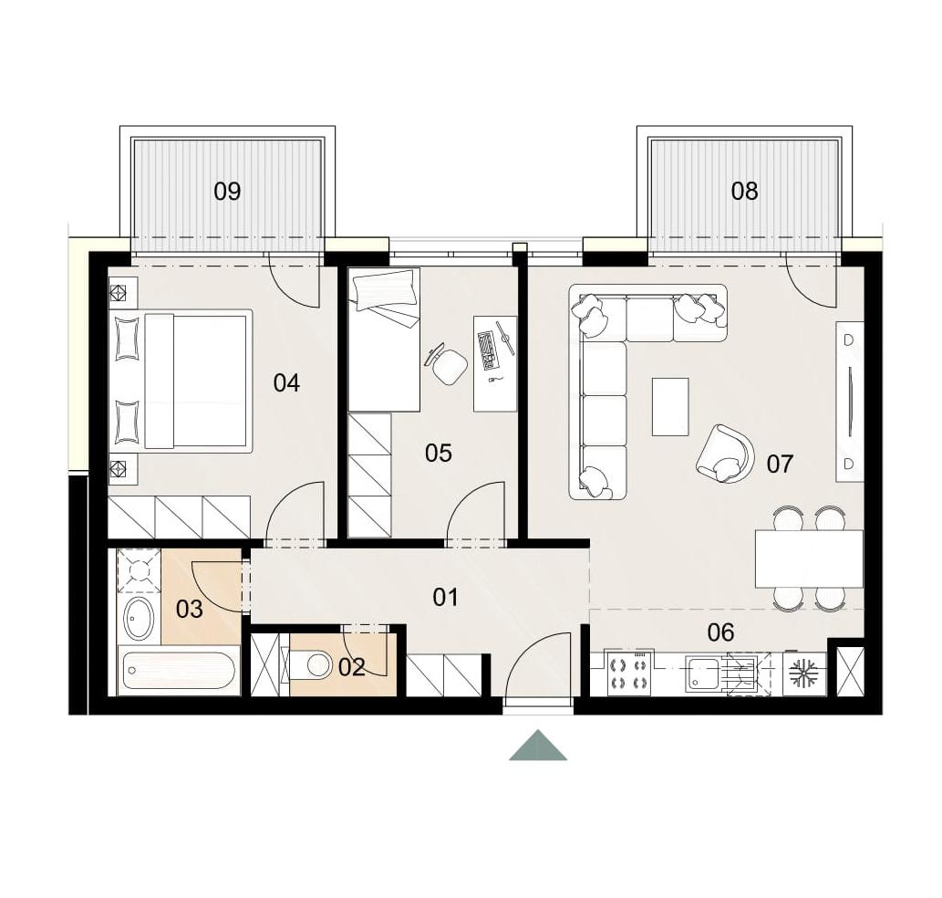 Rosenhaus byt 810, 3-izbový. Novostavba Vrakuňa.