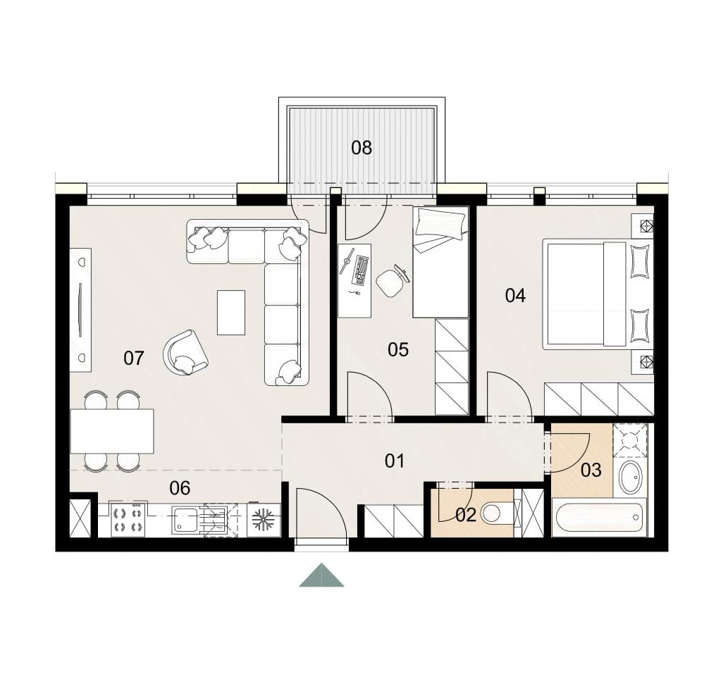 Rosenhaus byt 811, 3-izbový. Novostavba Vrakuňa.