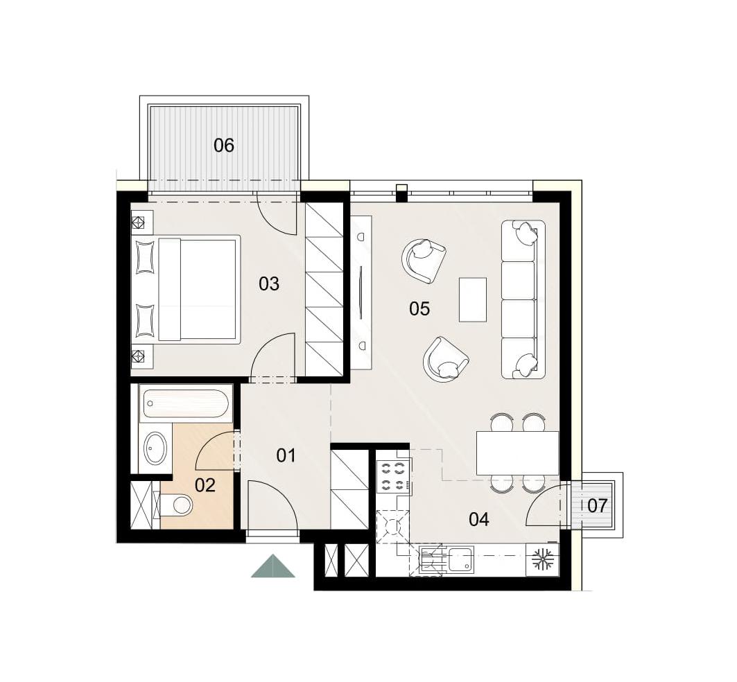 Rosenhaus byt 812, 2-izbový. Novostavba Vrakuňa.
