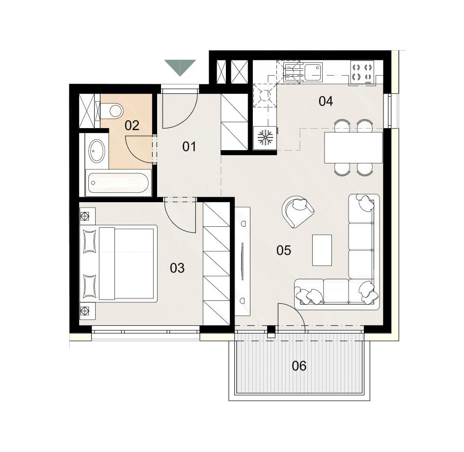 Rosenhaus byt 901, 2-izbový. Novostavba Vrakuňa.