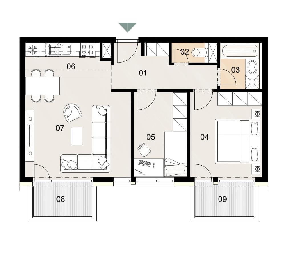 Rosenhaus byt 902, 3-izbový. Novostavba Vrakuňa.