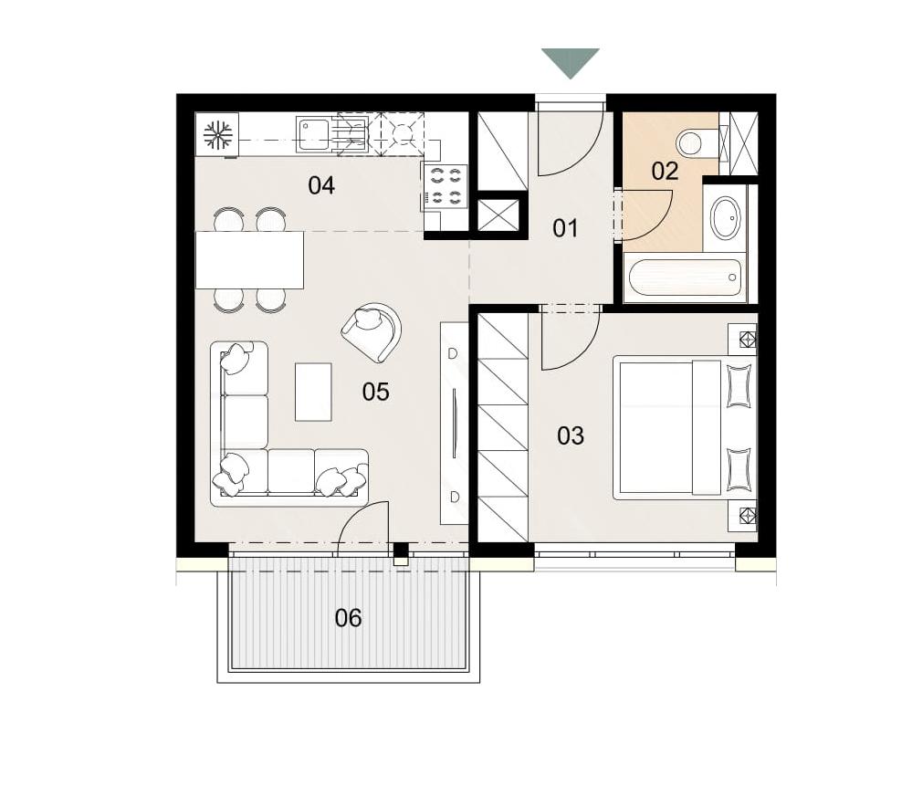 Rosenhaus byt 903, 2-izbový. Novostavba Vrakuňa.