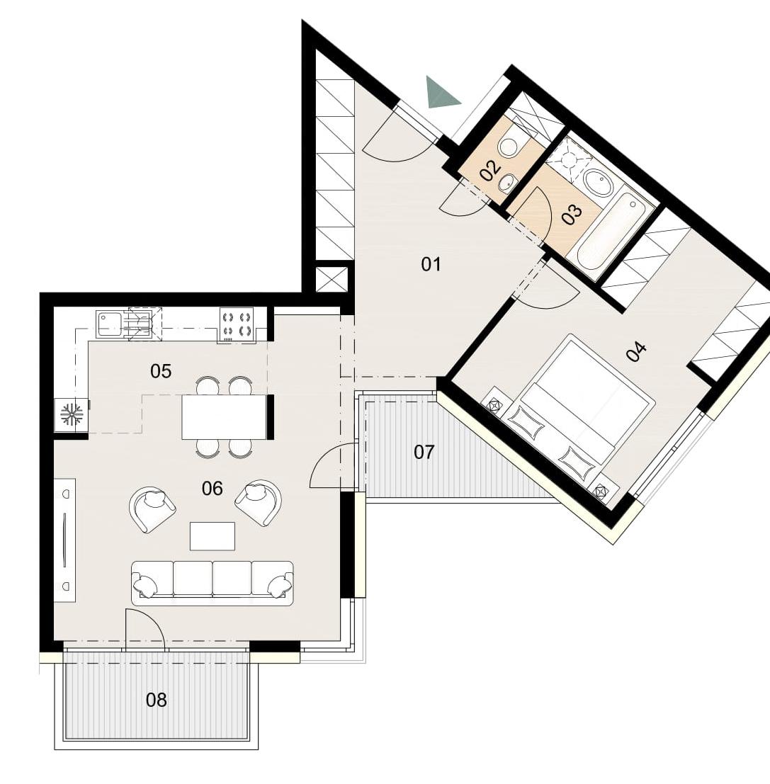 Rosenhaus byt 904, 2-izbový. Novostavba Vrakuňa.