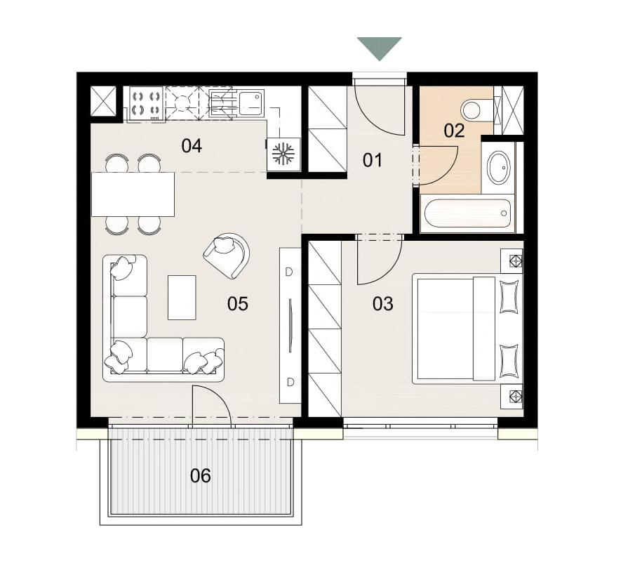 Rosenhaus byt 905, 2-izbový. Novostavba Vrakuňa.