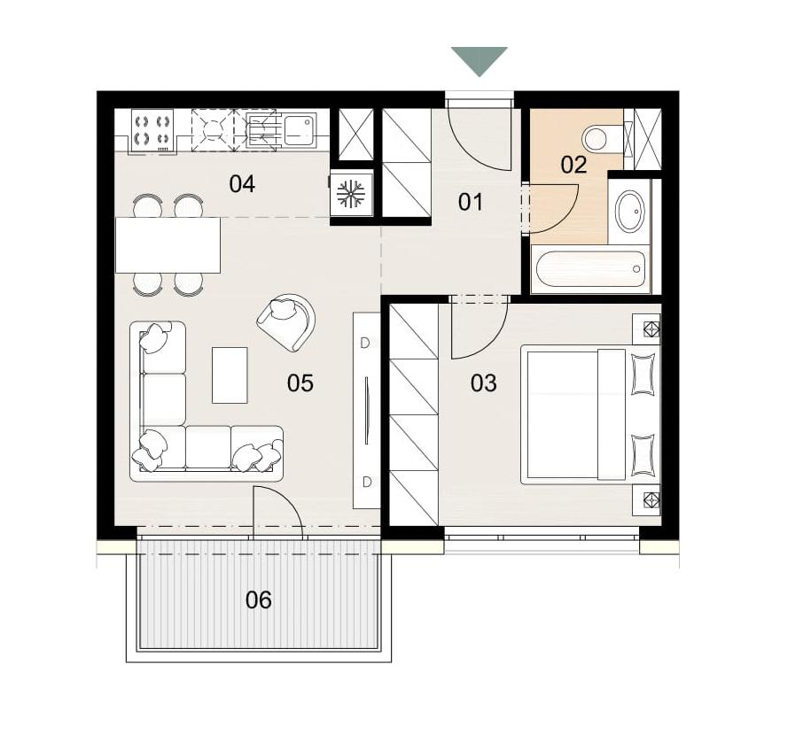 Rosenhaus byt 906, 2-izbový. Novostavba Vrakuňa.