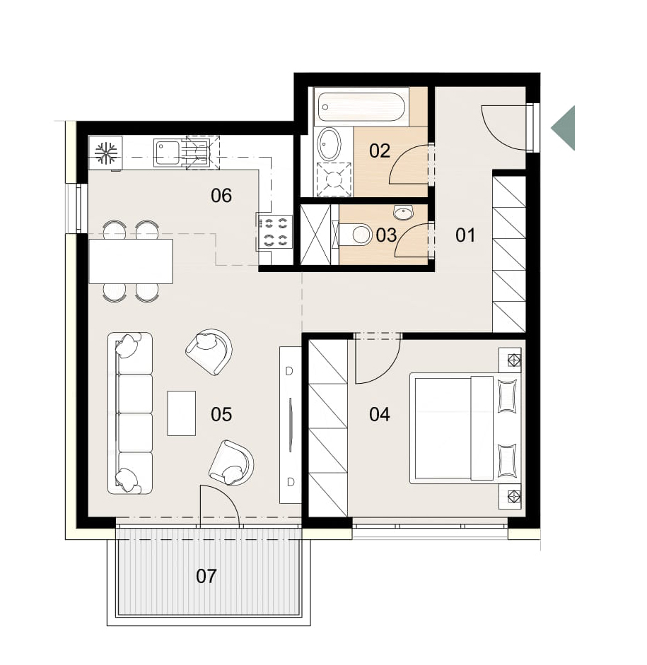 Rosenhaus byt 907, 2-izbový. Novostavba Vrakuňa.