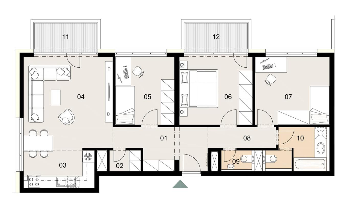 Rosenhaus byt 908, 4-izbový. Novostavba Vrakuňa.