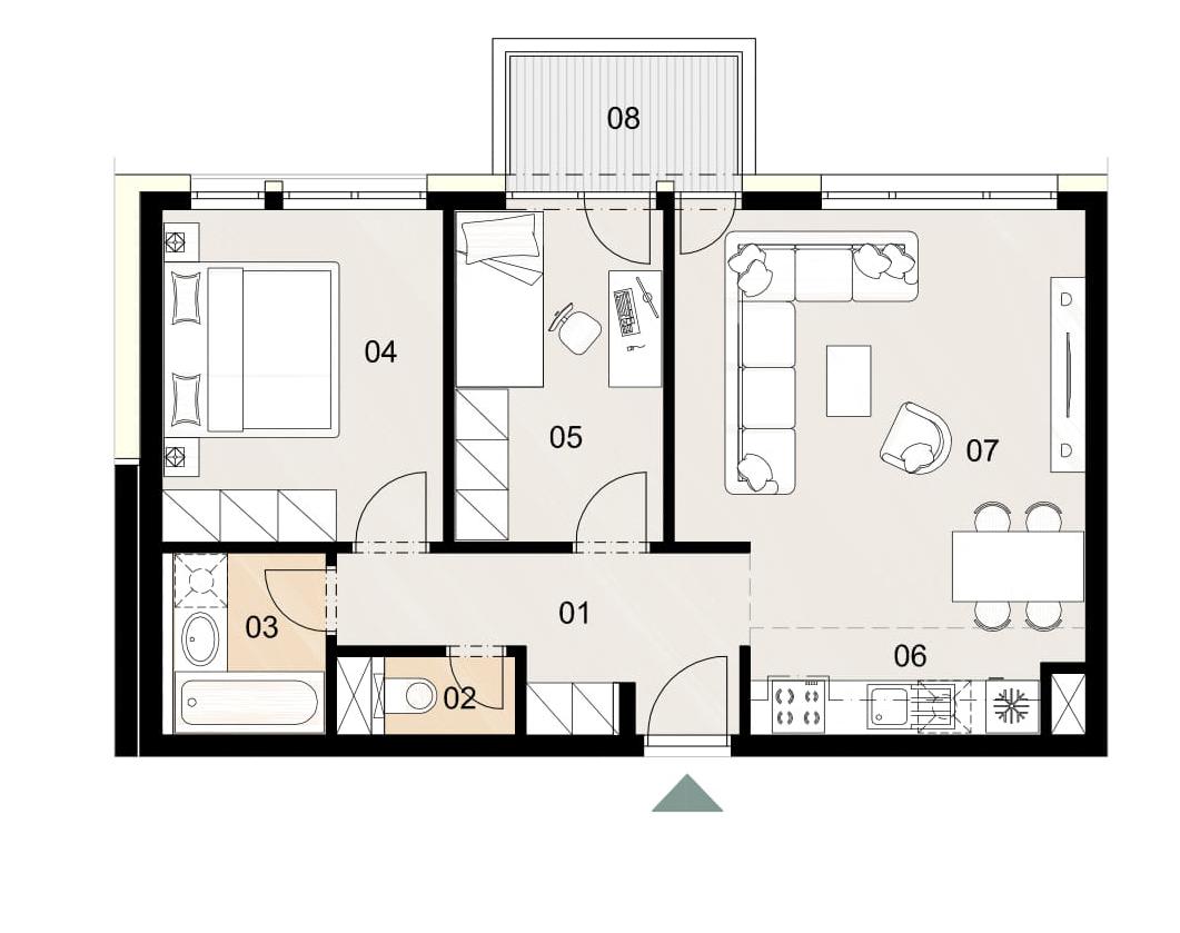 Rosenhaus byt 910, 3-izbový. Novostavba Vrakuňa.
