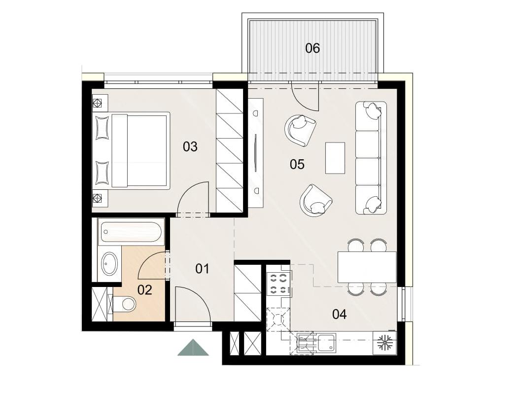 Rosenhaus byt 912, 2-izbový. Novostavba Vrakuňa.